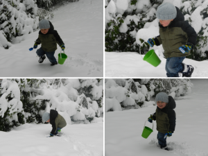 Playing in the snow with bucket and shovel
